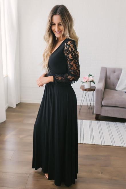 Faux Wrap Lace Sleeve Maxi Dress - Black
