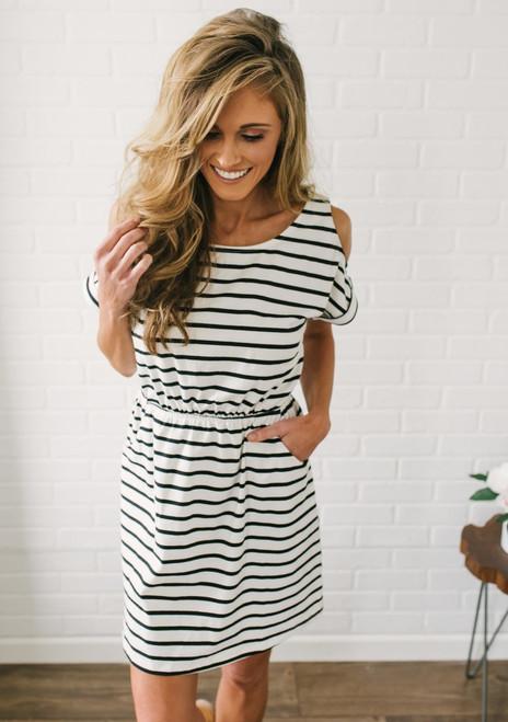 Cold Shoulder Striped Dress - Off White/Black