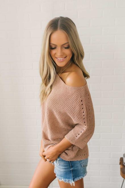 Lightweight Two Tone Bateau Sweater - Rose/Rust
