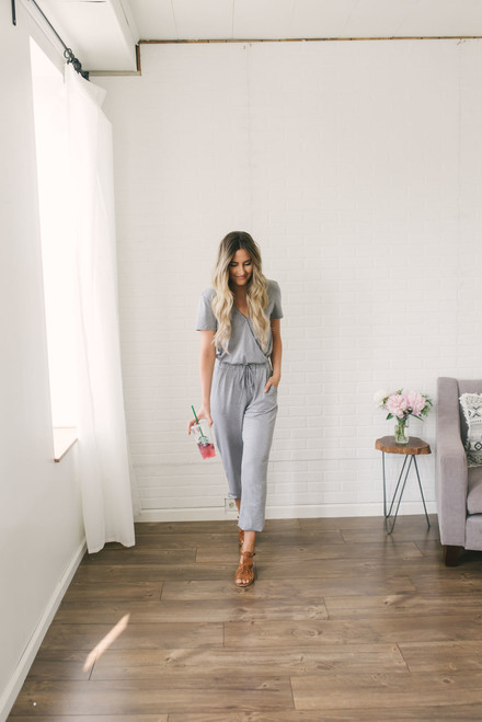Short Sleeve Surplice Jumpsuit - Heather Grey