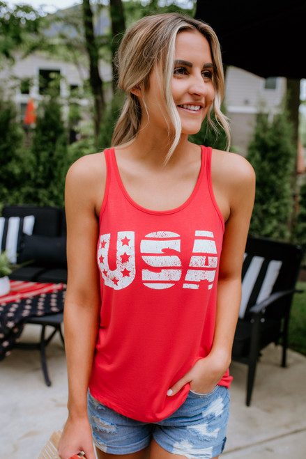 Star Spangled USA Tank - Coral Red