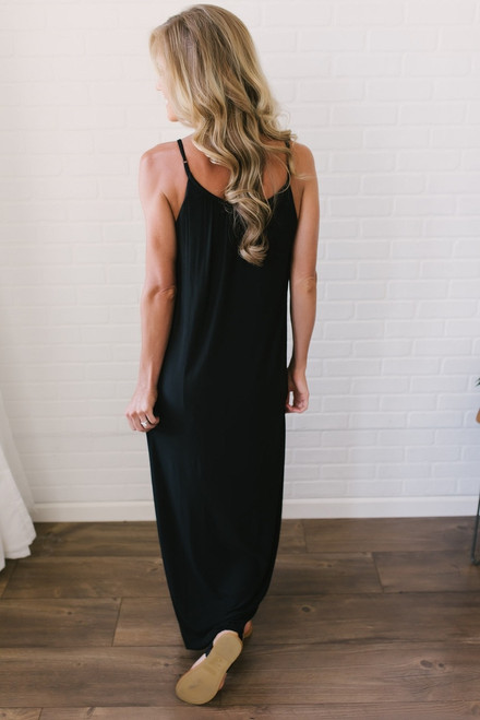 Gathered Front Maxi Dress - Black (EXPECTED END OF MAY)