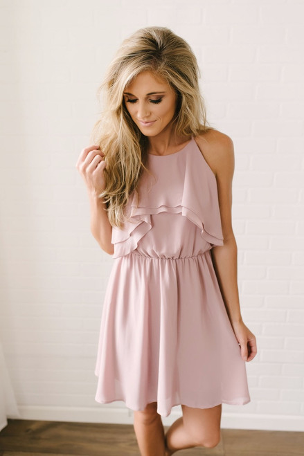 A Night in Paris Ruffled Dress - Mauve