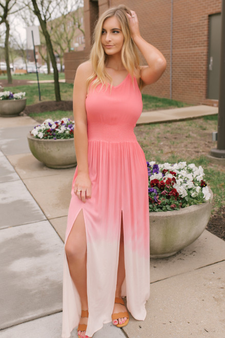 Alana Smocked Ombre Slit Maxi - Coral