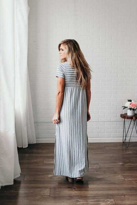 Hampton Beach Striped Maxi - Heather Grey/White