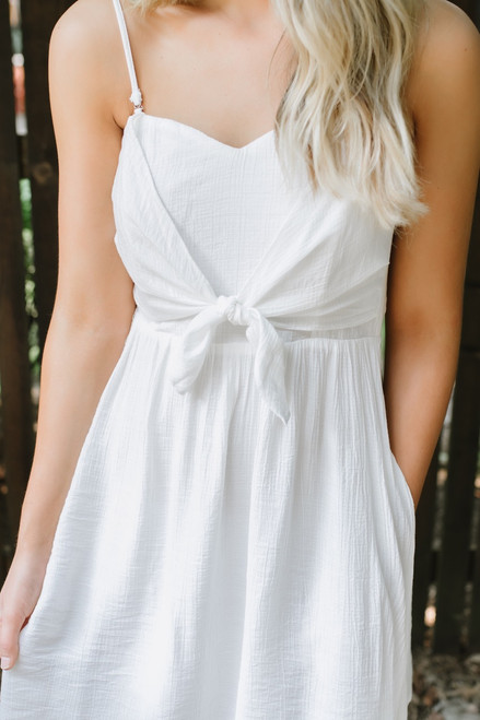Southampton Knot Detail Dress - Off White - FINAL SALE