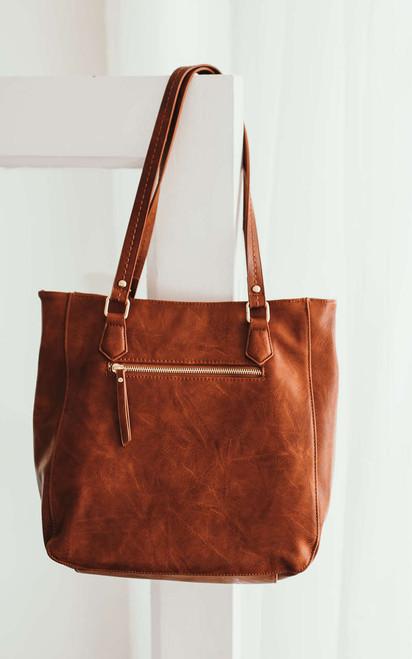 Harlowe Cross-Stitched Detail Handbag - Brown
