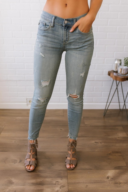 Southern Charm Distressed Skinny Jeans - Light Wash  - FINAL SALE