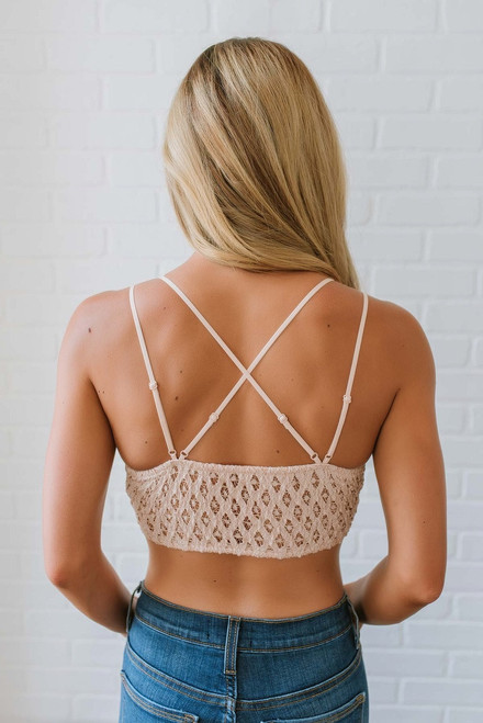 Strappy Scalloped Lace Bralette - Natural