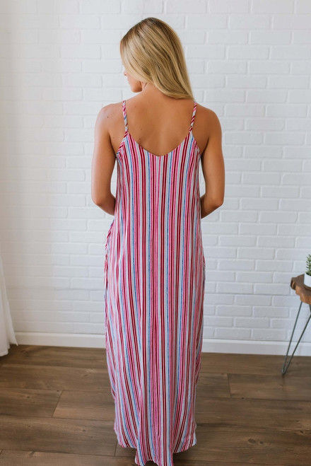 Under the Tuscan Sun Striped Maxi - Red Multi - FINAL SALE