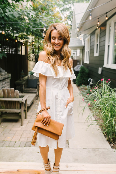 Off the Shoulder Button Down Dress - Off White  - FINAL SALE