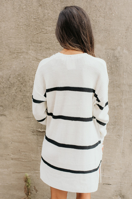Ivy Cottage Striped Cardigan - White/Black