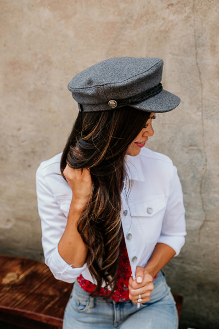 Come Away with Me Lieutenant Hat - Charcoal - FINAL SALE
