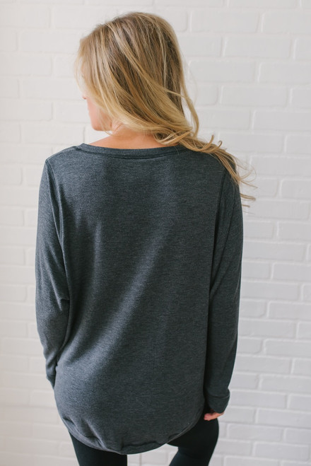 Contrast Stitch French Terry Pullover - Charcoal  - FINAL SALE