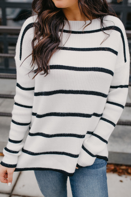 Ivy Cottage Striped Sweater - Ivory/Black