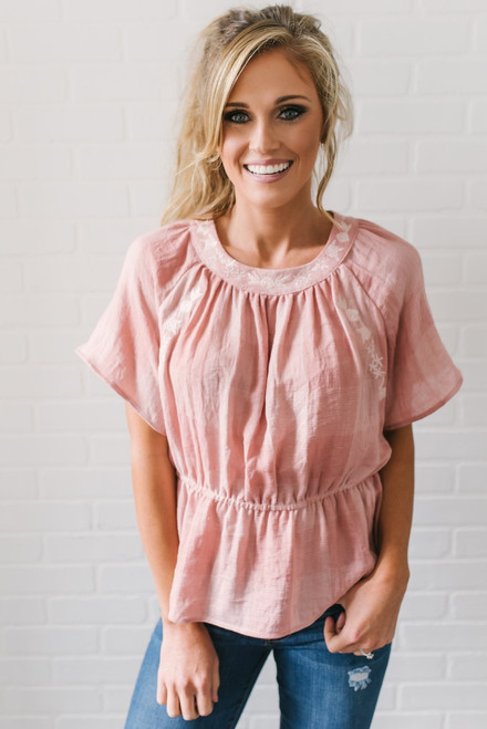 Check Yes Juliet Embroidered Peplum Top - Blush - FINAL SALE