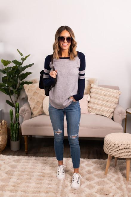Sample Gates Varsity Sweater - Navy/Heather Grey