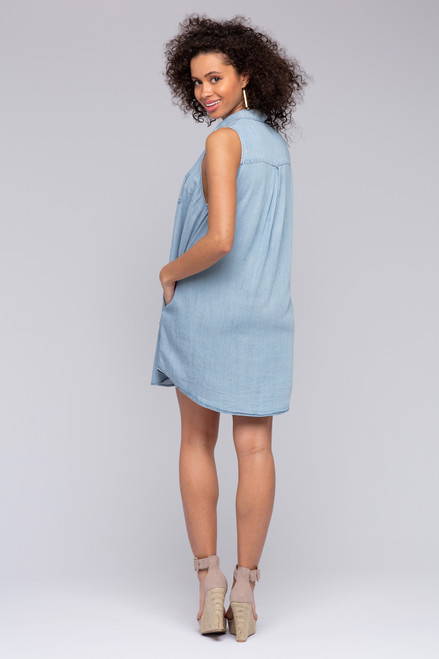 Vaughn Button Down Tencel Dress - Light Wash