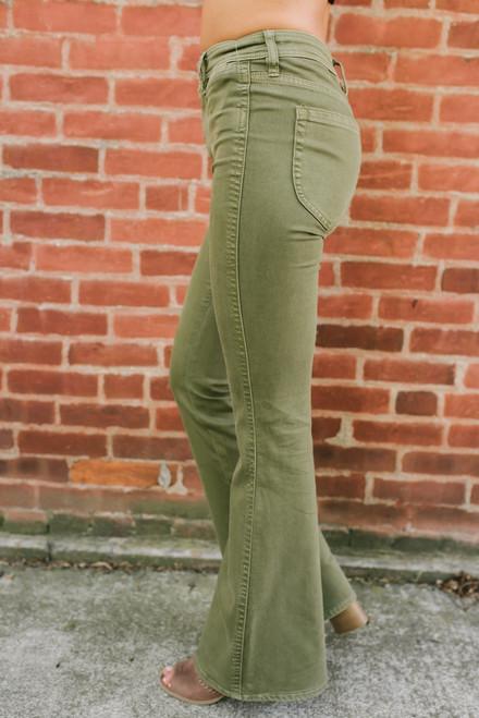 Free People Brooke Flare Jeans - Green - FINAL SALE