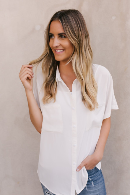 Hanna Button Down Pocket Top - Ivory - FINAL SALE