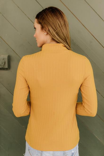 Westport Mock Neck Ribbed Knit Top - Mustard - FINAL SALE