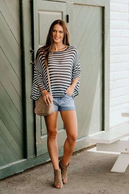 Ocean Avenue Open Knit Striped Sweater - Teal/White - FINAL SALE