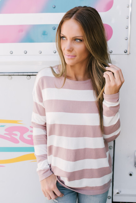 Charlotte Striped Elbow Patch Sweater - Dusty Pink/Ivory