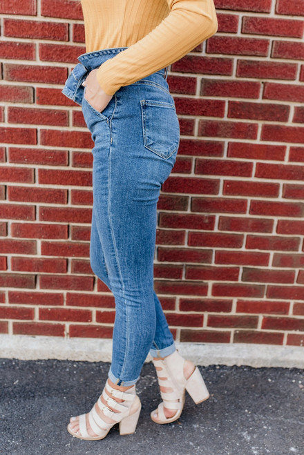 High Waist Paperbag Skinny Jeans - Medium Wash - FINAL SALE