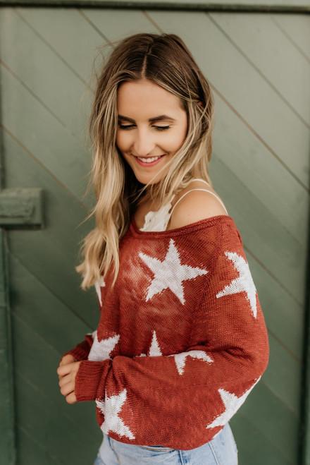 Written in the Stars Sweater - Brick - FINAL SALE
