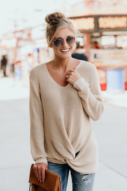Need You Now Knot Sweater - Beige - FINAL SALE