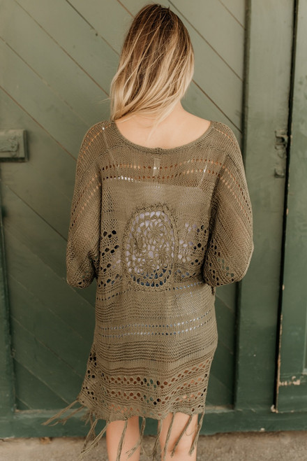 Short Sleeve Crochet Cardigan - Olive - FINAL SALE