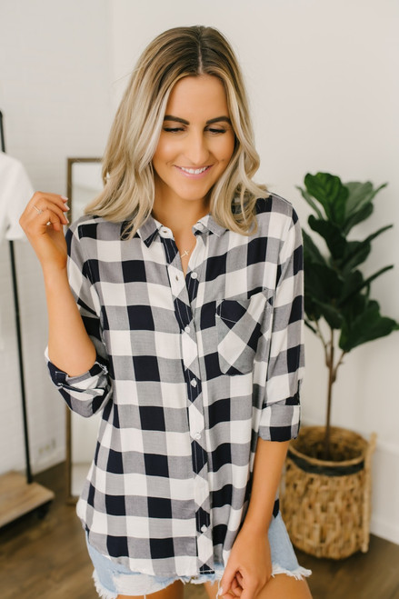 Adventure of a Lifetime Gingham Button Down - Navy/Ivory - FINAL SALE