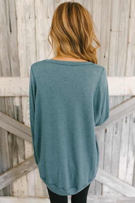 Contrast Stitch French Terry Pullover - Teal  - FINAL SALE
