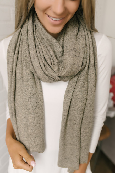Carnegie Hill Soft Brushed Scarf - Heather Oatmeal  - FINAL SALE