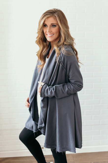 Seam Detail Hooded French Terry Cardigan - Charcoal  - FINAL SALE