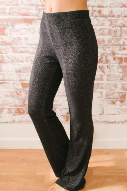 Sunday Snuggles Soft Brushed Pants - Heather Black  - FINAL SALE