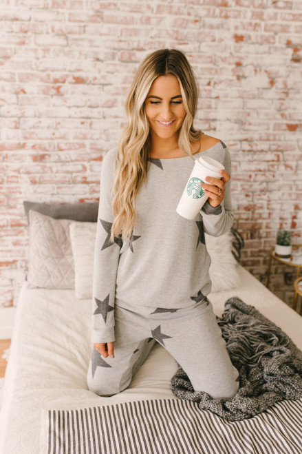 Lucky Stars Soft Brushed Pants - Heather Grey/Charcoal  - FINAL SALE