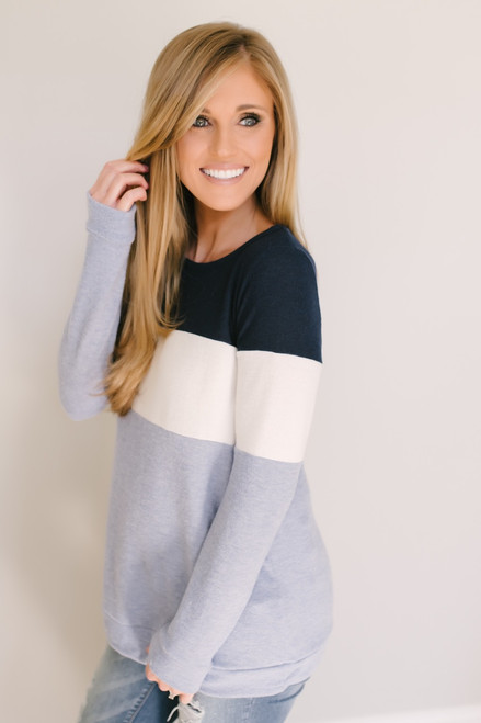 Soft Brushed Colorblock Pullover - Navy/Ivory/Blue