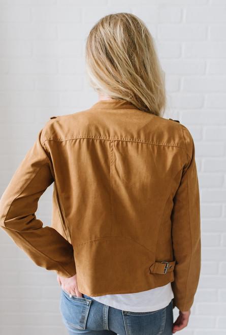 Pine Ridge Asymmetrical Moto Jacket - Camel
