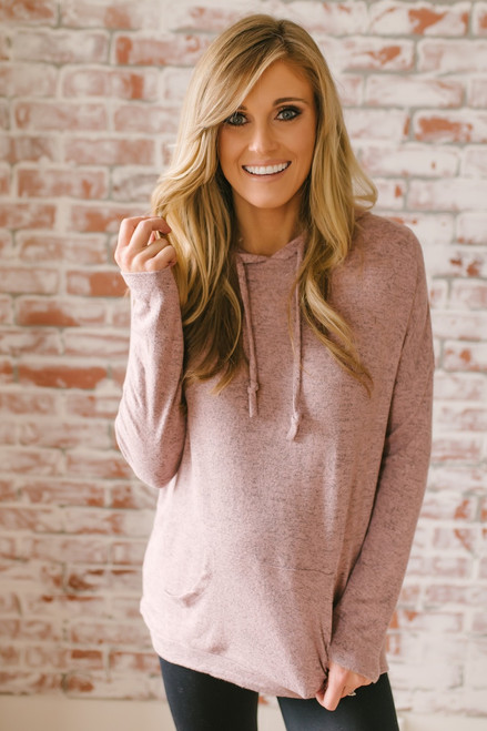 Glacier Lodge Soft Brushed Pocket Hoodie - Blush  - FINAL SALE