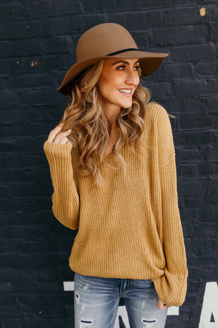 According To You V-Neck Sweater - Mustard - FINAL SALE  - FINAL SALE