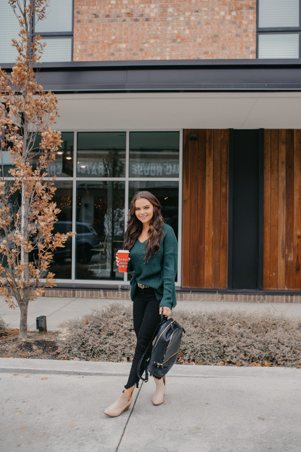 According To You V-Neck Sweater - Forest Green