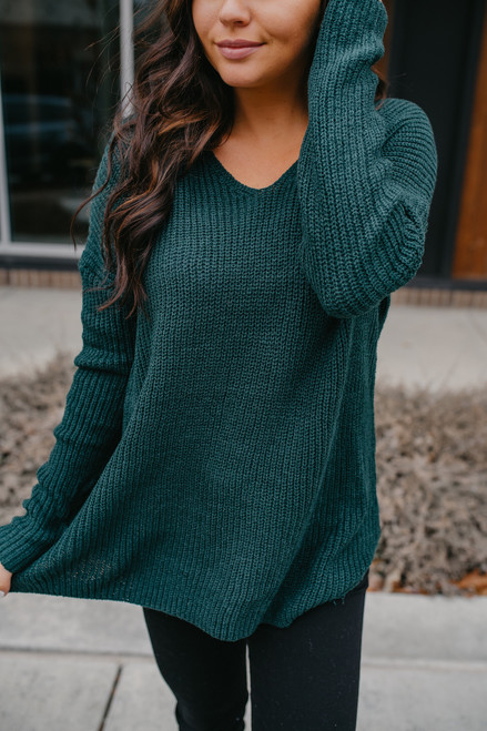 According To You V-Neck Sweater - Forest GreenAccording To You V-Neck Sweater - Forest Green