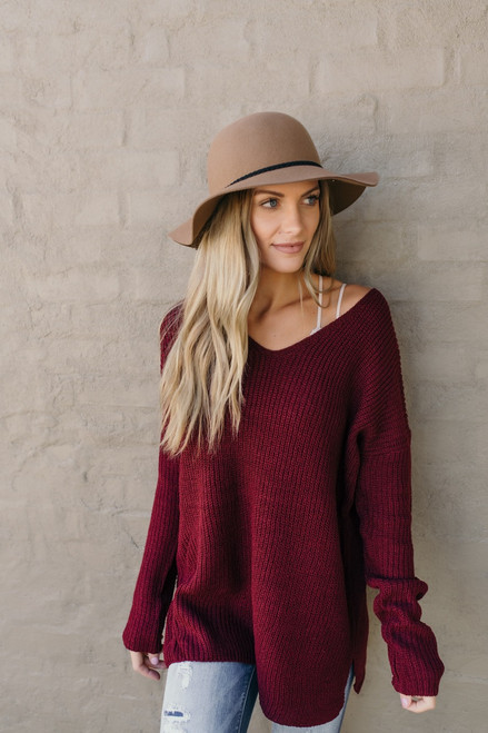 According To You V-Neck Sweater - Burgundy