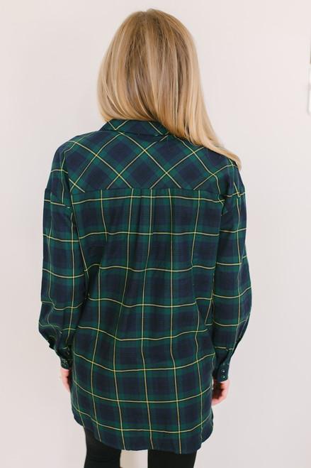 Waverly Plaid Button Down Shirt - Green/Navy - FINAL SALE