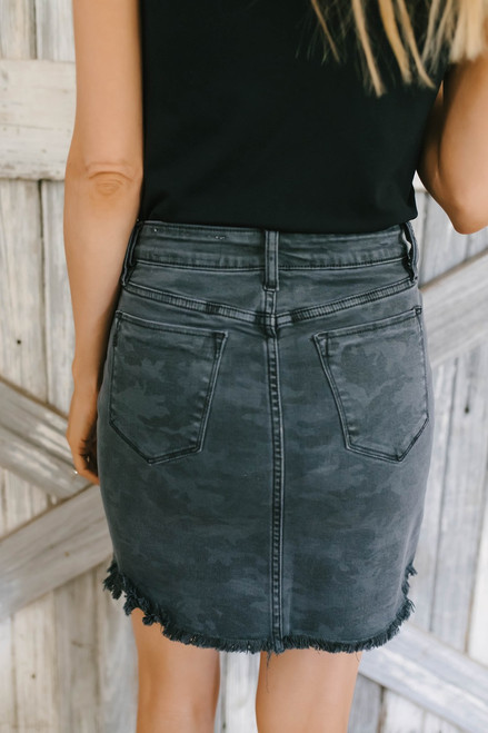 You Oughta Know Frayed Camo Skirt - Charcoal - FINAL SALE