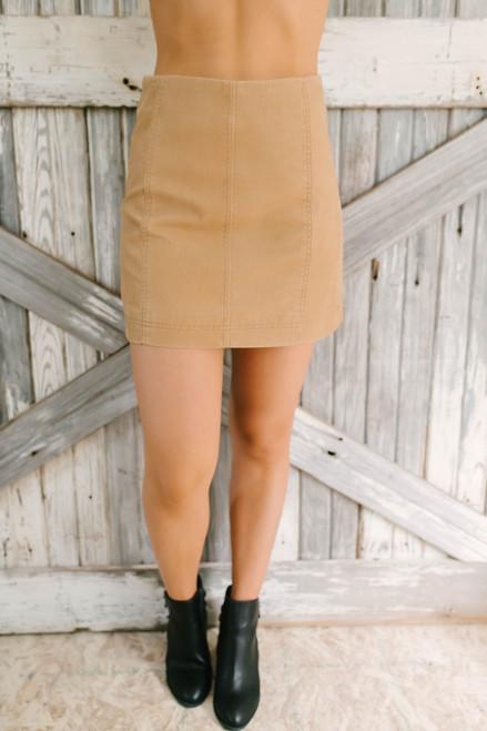 Hidden Valley Faux Leather Skirt - Camel - FINAL SALE