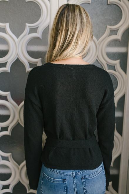 Bretton Woods Tie Waist Sweater - Black - FINAL SALE