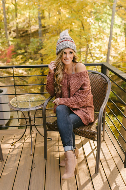 Italian Vineyard V-Neck Popcorn Sweater - Brick  - FINAL SALE