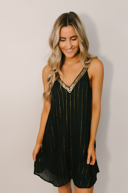 Glitz & Glam Metallic Stripe Dress - Green/Gold  - FINAL SALE